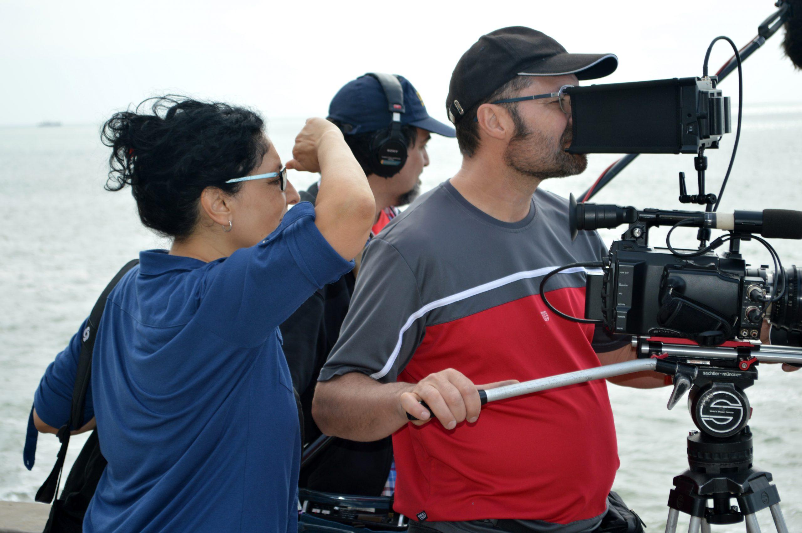 Sandra y Javier filmando